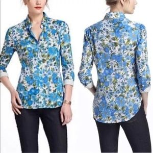 HD Paris blue floral button down Hanalei top 10
